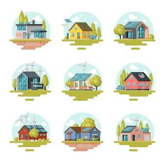 Det piatto di case moderne e tradizionali eco-compatibili. edifici residenziali con pannelli solari, turbine eoliche