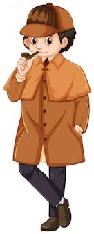 Detective che indossa il cappotto di colore marrone