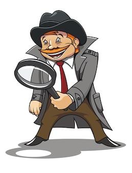 Detective con lente d'ingrandimento per il design dei cartoni animati