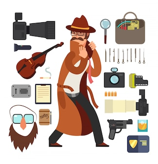 Detective di sorveglianza del fumetto con l'attrezzatura messa per il concetto di ricerca