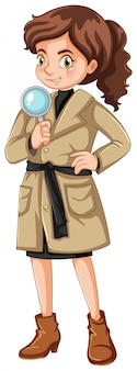 Detective femminile con lente d'ingrandimento