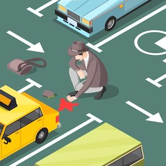 Detective sulla scena del crimine in un parcheggio