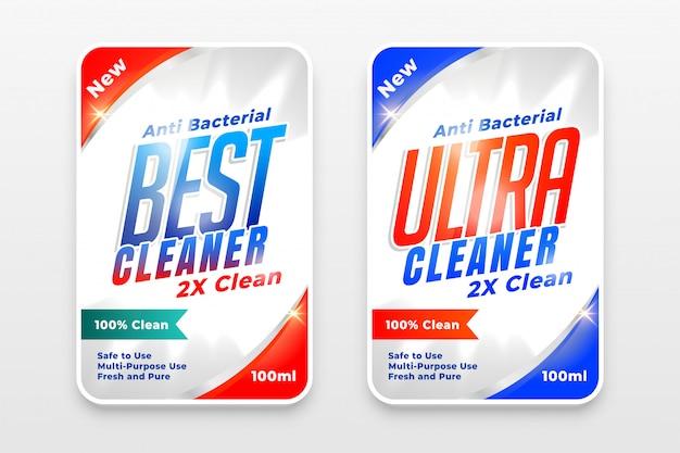 Detergente detergente e disinfettante etichette set di due