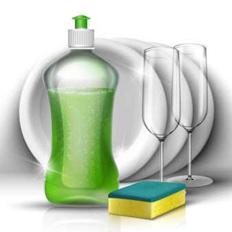 Detersivo liquido per piatti con set di piatti e bicchieri. concetto di pulizia della cucina e della famiglia.