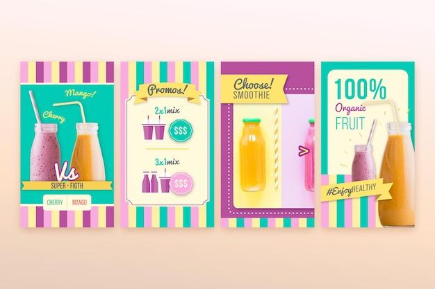 Detox storie di instagram di smoothie bar biologici
