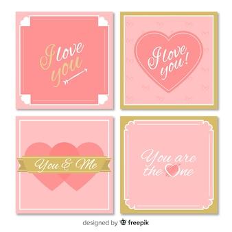 Dettagli dorati della raccolta della carta di san valentino