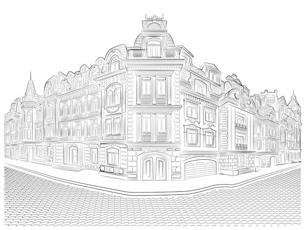 Dettagliate vecchie costruzioni sul disegno vettoriale angolo strada