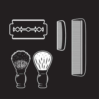 Dettagliato isolato dell'annata dell'oggetto dell'articolo del barbiere