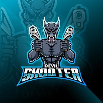 Devil shooter esport logo mascotte
