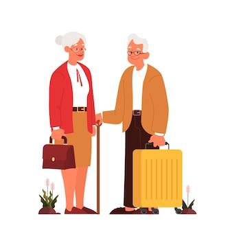 Di anziani tourit con bagagli e borsetta. uomo anziano e donna con le valigie. raccolta di vecchi personaggi nel loro viaggio. viaggi e turismo