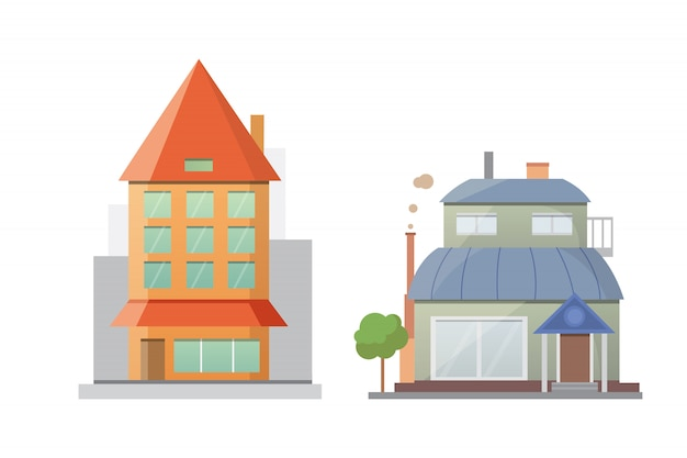 Di case di città retrò e moderne. vecchi edifici, grattacieli. edificio colorato cottage, caffetteria.
