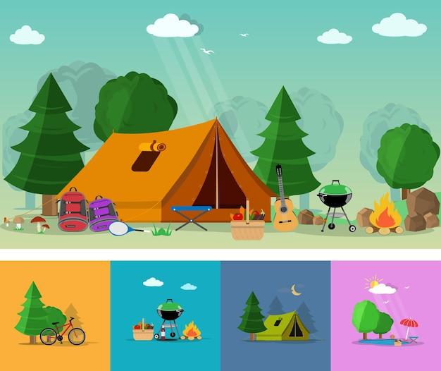 Di escursionismo, turismo e attività ricreative all'aperto con icone di viaggio. insieme di elementi piatti: chitarra, cestino con cibo, barbecue, tenda, zaini, alberi, illustrazione di falò