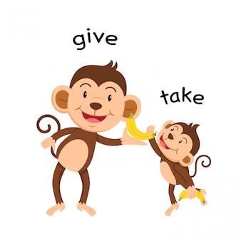 Di fronte a dare e prendere illustrazione vettoriale