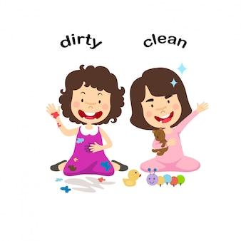 Di fronte all'illustrazione sporca e pulita di vettore