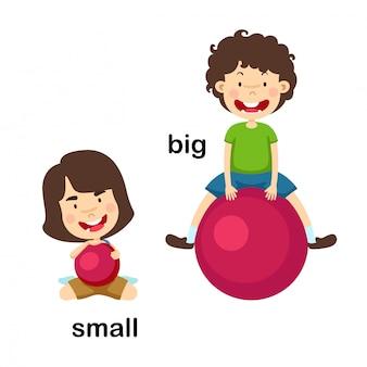 Di fronte alla grande e piccola illustrazione vettoriale