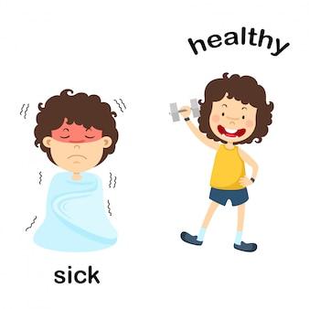 Di fronte illustrazione vettoriale malato e sano