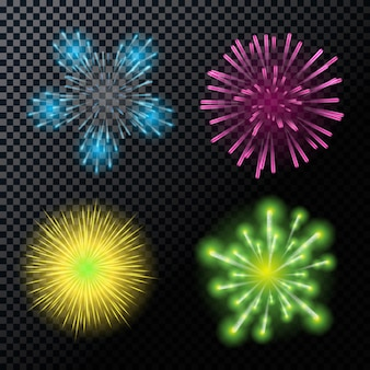 Di fuochi d'artificio, salute su un trasparente backgr