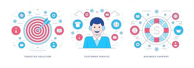 Di illustrazioni vettoriali create per la pubblicità di servizi di supporto aziendale nei social media