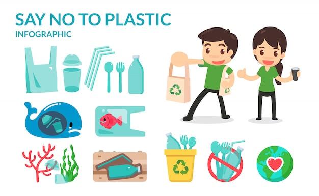 Di 'no a tubi di plastica, borse, bottiglie di paglia