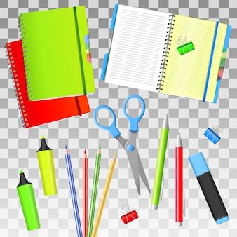 Di nuovo a scuola. back to school oggetti iisolated realistici. materiale scolastico isolato.