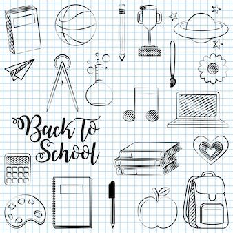 Di nuovo a scuola con l'illustrazione degli elementi della scuola