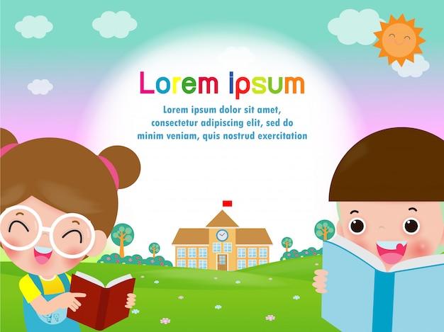 Di nuovo a scuola, libri di lettura felici dei bambini, apprendimento dello studente, modello di concetto di istruzione