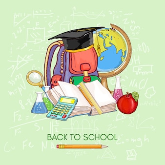 Di nuovo a scuola. materie scolastiche per l'educazione conoscenza del libro aperto