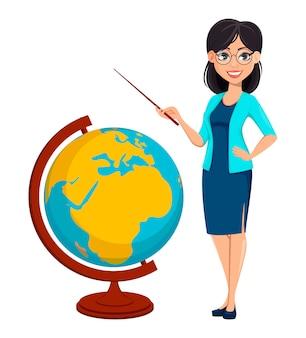 Di nuovo a scuola. personaggio dei cartoni animati di insegnante donna