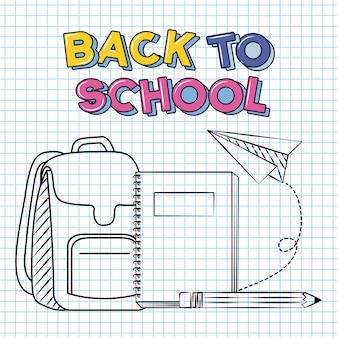 Di nuovo a scuola scarabocchii uno zaino un libro una matita sopra l'illustrazione della carta del taccuino