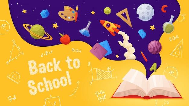 Di nuovo a scuola. stile cartone animato e colorato. libro aperto con elementi volanti: pianeti, rucola, stelle, lettere, pittura, righello, taccuino, matita.