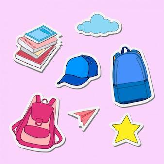 Di nuovo agli adesivi di progettazione dell'illustrazione della scuola
