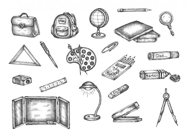Di nuovo agli elementi disegnati a mano di scarabocchio dell'insieme della scuola