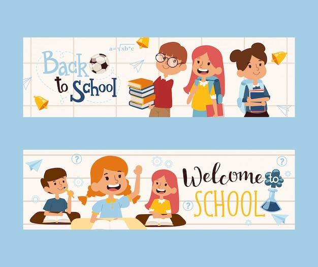 Di nuovo al banner della scuola, illustrazione. bambini felici con libri, compagni di classe amichevoli. intestazione del libretto di istruzione scolastica. personaggi dei cartoni animati di ragazzi e ragazze