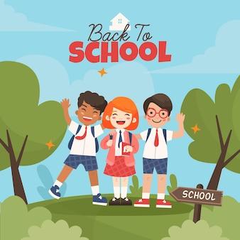 Di nuovo al concetto dell'illustrazione della scuola