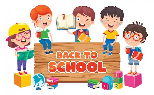 Di nuovo al concetto della scuola con i bambini divertenti