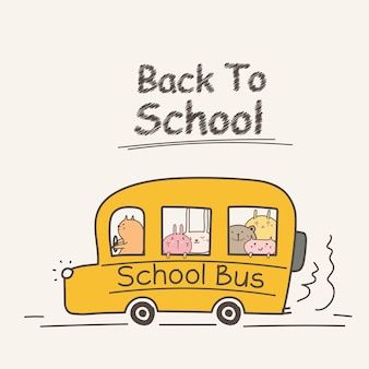 Di nuovo al concetto della scuola con lo scuolabus.