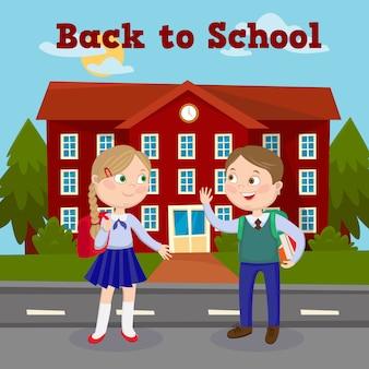 Di nuovo al concetto di istruzione scolastica con l'edificio scolastico e gli alunni.