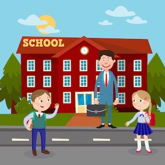 Di nuovo al concetto di istruzione scolastica con l'insegnante e gli alunni dell'edificio scolastico.