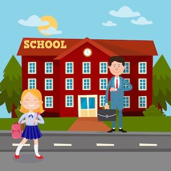 Di nuovo al concetto di istruzione scolastica con l'insegnante e la scolara dell'edificio scolastico.