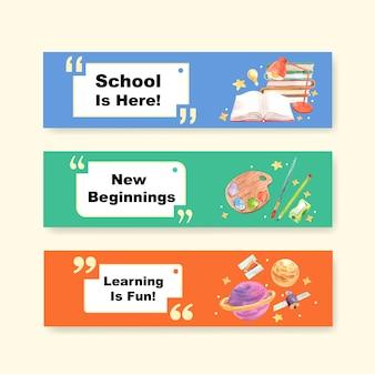 Di nuovo al concetto di scuola e istruzione con il modello dell'insegna per l'opuscolo e l'acquerello di vendita