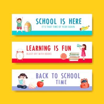 Di nuovo al concetto di scuola e istruzione con modello di banner