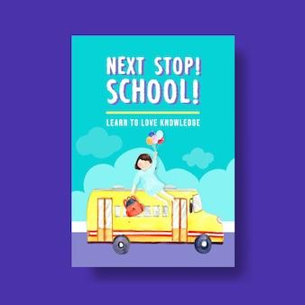 Di nuovo al concetto di scuola e istruzione con modello di poster per brochure e pubblicità dell'acquerello