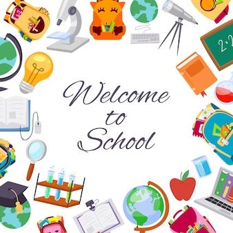 Di nuovo al manifesto di vendita della scuola per l'illustrazione stagionale di sconto del deposito scolastico di autunno di settembre.
