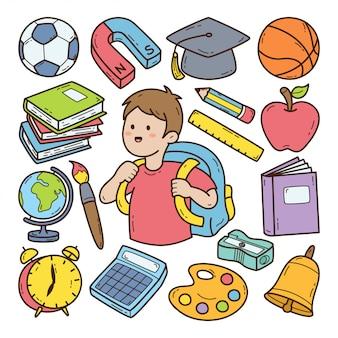 Di nuovo all'illustrazione disegnata a mano di scarabocchio della scuola