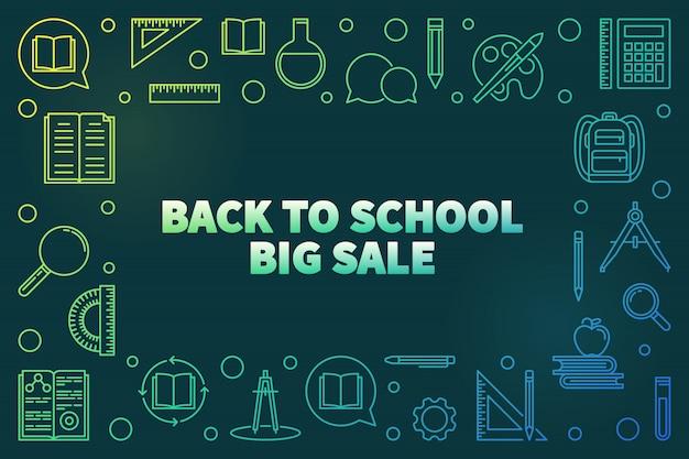 Di nuovo all'illustrazione lineare lineare dell'icona di grande vendita della scuola