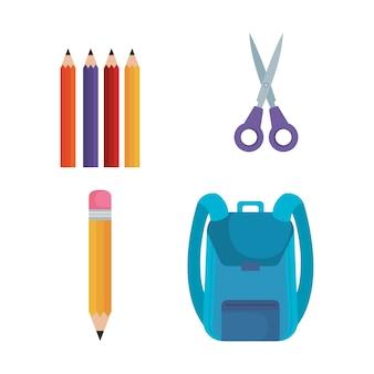 Di nuovo alla progettazione stabilita dell'illustrazione di vettore delle icone della scuola