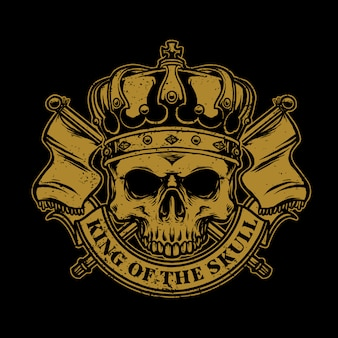 Di teschio con re corona e bandiera del regno