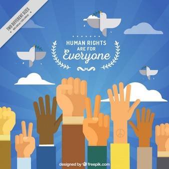 Día de los derechos humanos, fondo con manos levantadas