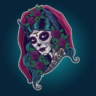Dia de los muertos. illustrazione di catrina messicana