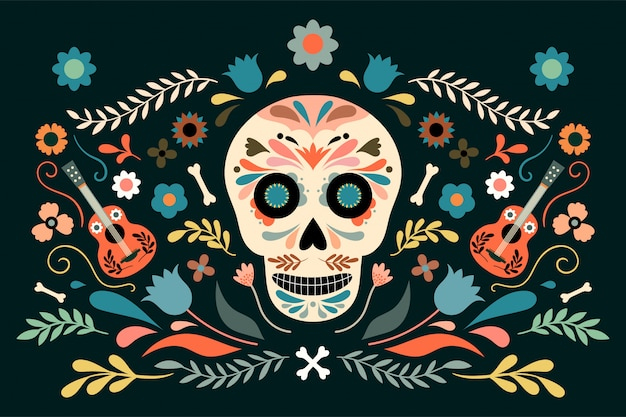 Dia de los muertos, poster decorativo day of dead con teschio ed elementi floreali